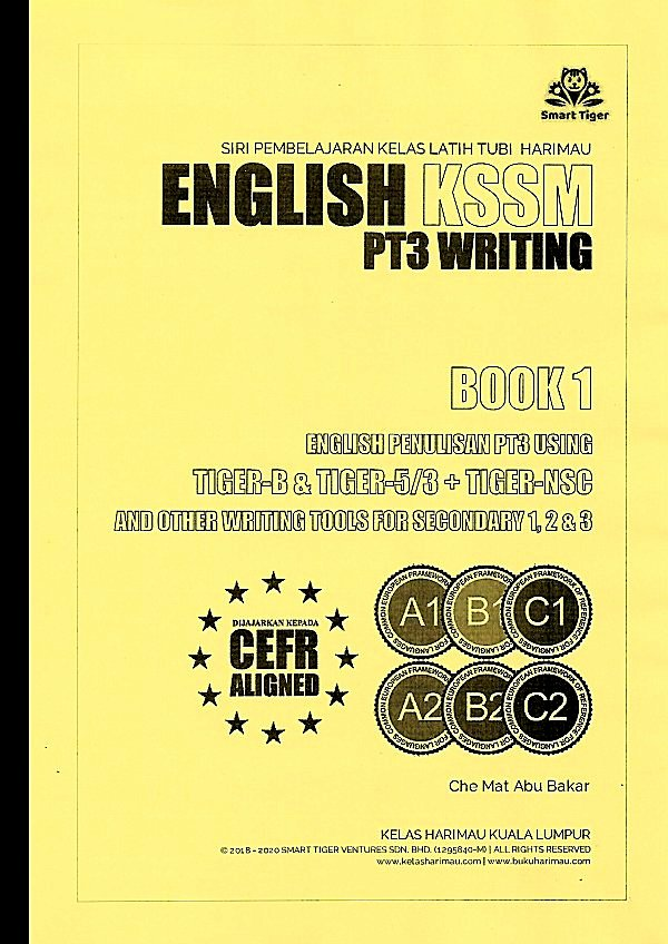 English KSSM PT3 Writing Book 1 - Learning Book Tiger B & Tiger 5/3 Methods + Questions Part 1 & 2