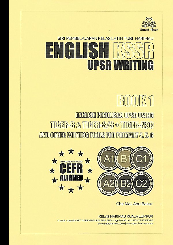 English KSSR UPSR Writing Book 1 - Learning Book Tiger B & Tiger 3/3 Methods + Questions Sets